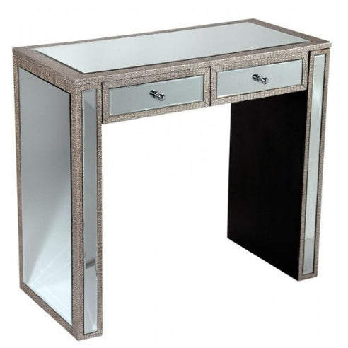 Mock croc mirrored silver console dressing table