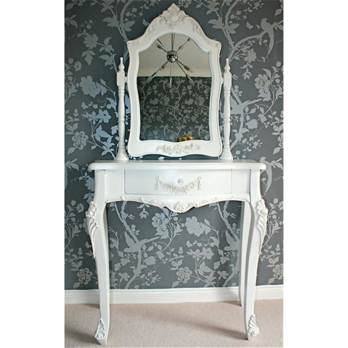 Laura white French Dressing Table and Mirror set