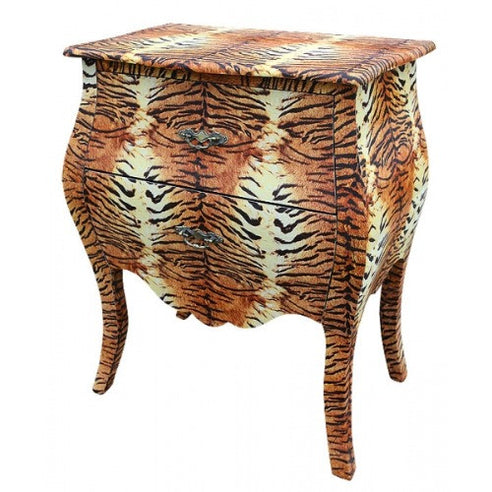 Tiger pattern 'Lounge Lizard' bedside table