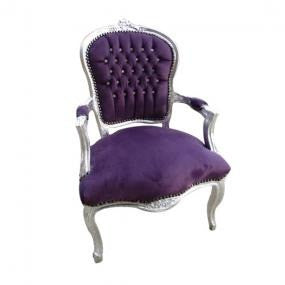 Purple diamante velvet french arm chair