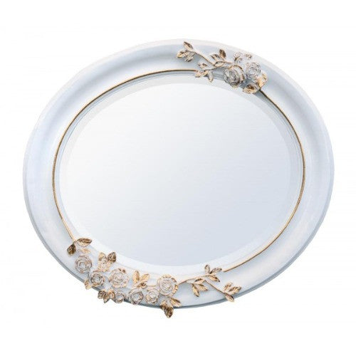 White and gold oval flower mirror