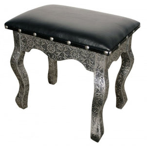 Blackened silver embossed metal dressing table stool  sc 1 st  Scoutabout Interiors & Bedroom Chairs Stools u0026amp; Chaises islam-shia.org
