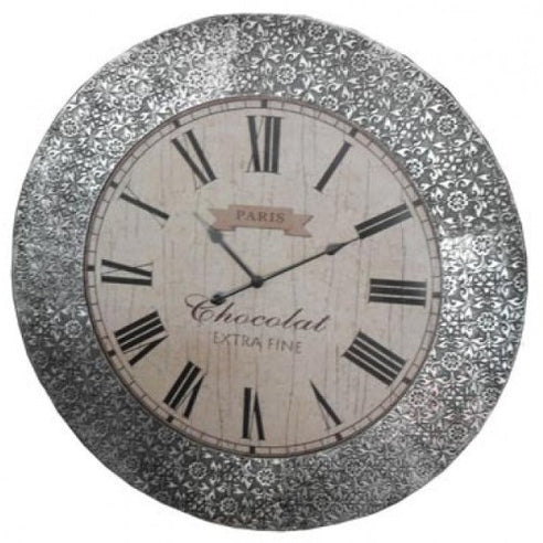 Blackened silver embossed metal large clock