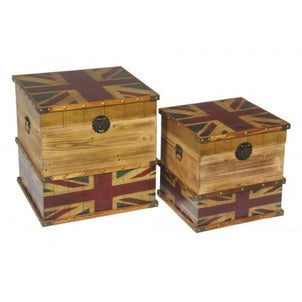 Union Jack Vintage Storage Trunk Set