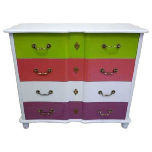 Gloss lacquered multi coloured chest of drawers