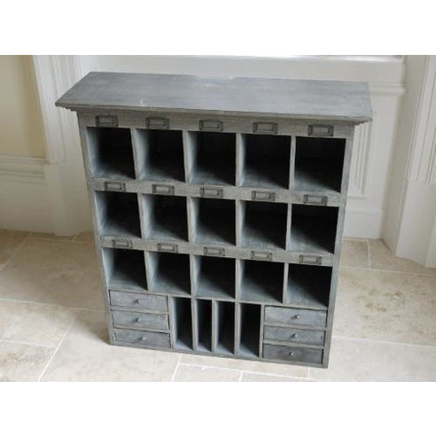Rustic grey pigeon hole wall cabinet