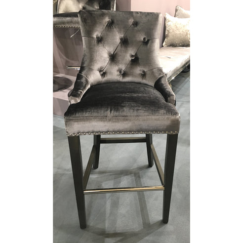 Belvedere Charcoal Knocker Back Bar Stool