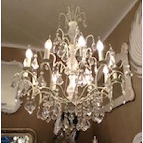 Cream cut glass Sophia chandelier 8 arm
