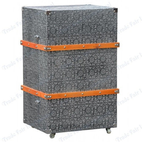 Blackened silver embossed metal chest of drawers / luggage trunk style