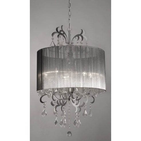 Silver grey Susie chandelier with shade 5 arm