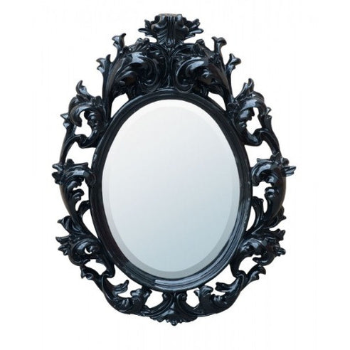 Black french rococo heavy framed mirror