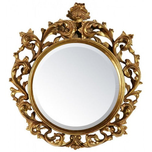 Gold baroque circular mirror