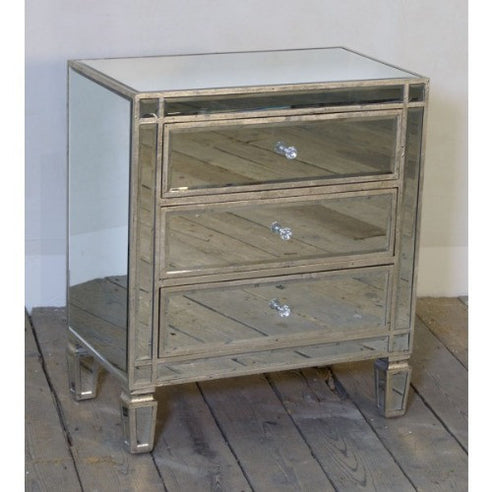 Venetian antiqued glass silver gilded chest of drawers