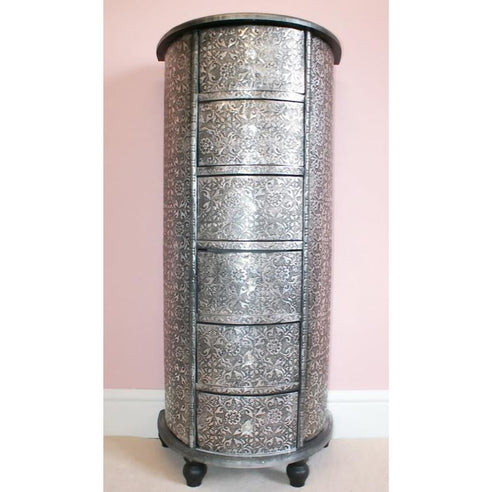 Blackened Silver Embossed Tallboy Chest of 6 Drawers (50 x 30 x 110cm)- clearance