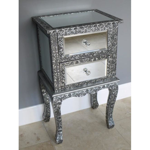 Blackened silver embossed metal mirrored bedside table