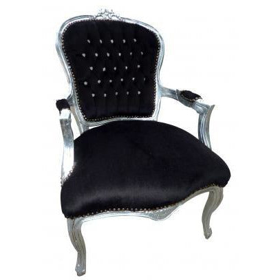 Black velvet diamante french arm chair