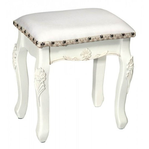 Laura white dressing table stool