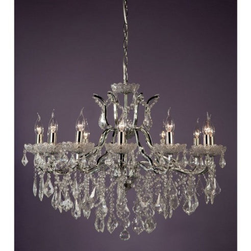 Shabby chic laura large chrome 12 arm chandelier