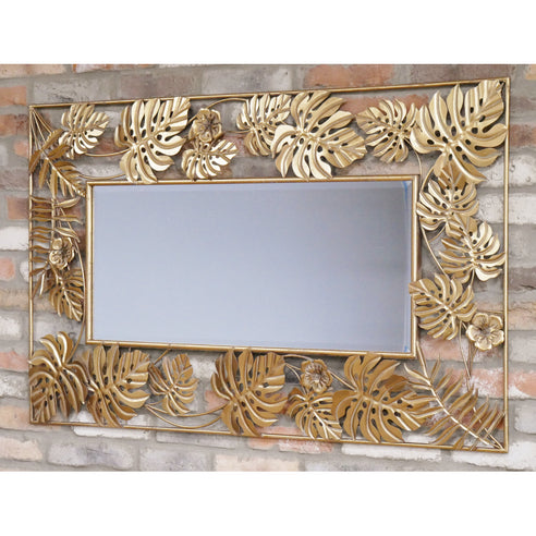 Gold Metal Wall Mirror ( 130 x 4 x 80 )