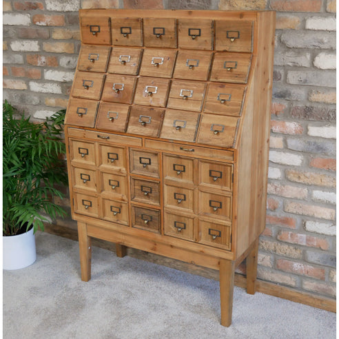 Hoxton Industrial Wood Collectors Bureau Cabinet (90 x 36 x 137cm)