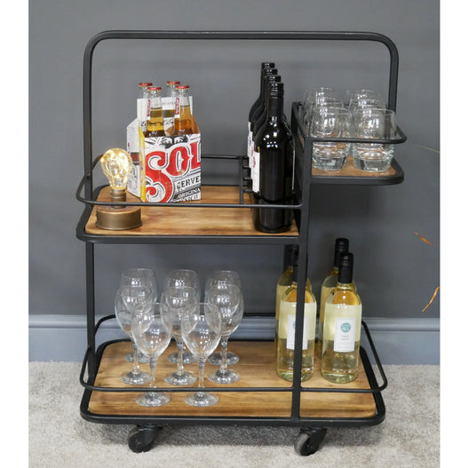 Hoxton Industrial Wood and Metal Drinks Trolley (61 x 41 x 81cm)