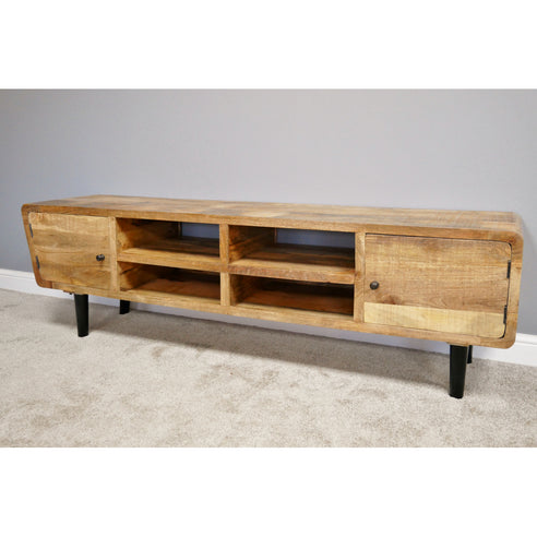 Hoxton Industrial Wood Large TV Media Cabinet (190 x 47 x 57cm)- Clearance