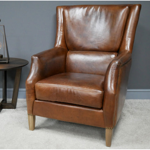 Hoxton Industrial Cognac 100% Brazilian Leather Reading Arm Chair ( 79 x 92 x 99 )