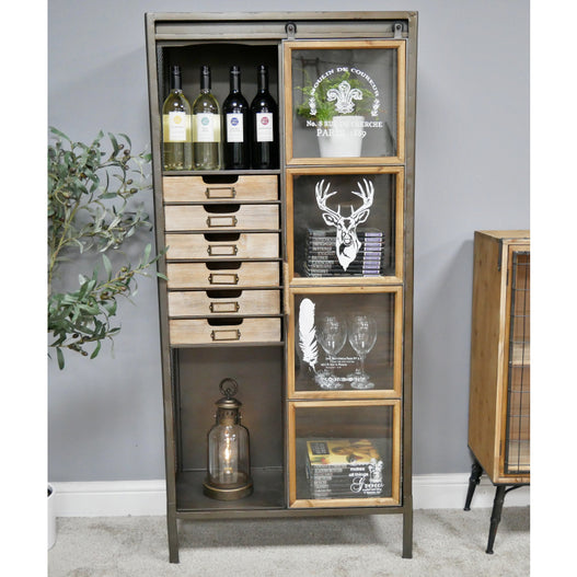 Brixton Metal and Wood Industrial Display Cabinet (71 x 35 x 153cm)