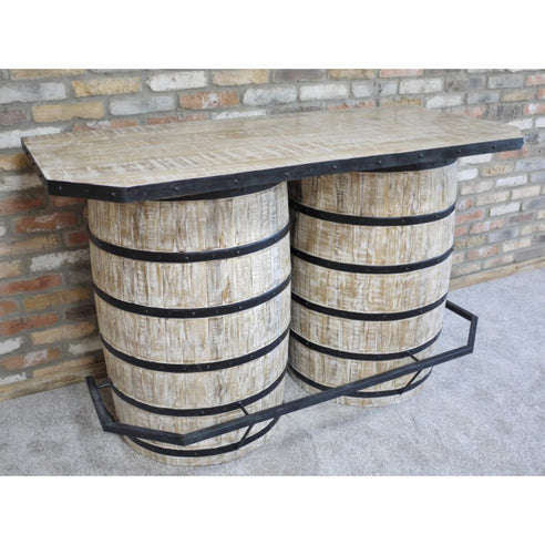 Retro Industrial 50's Style Notting Hill Wood Double Barrel Drinks Bar (160 x 75 x 102cm)