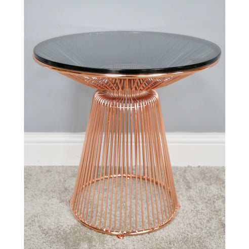 Electra Retro Steel Round Side Table - Copper (45 x 45 x 45cm)