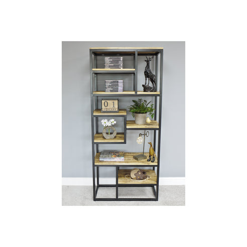 Hoxton Industrial Mango Wood and Iron Steel Display Unit (80 x 40 x 195cm)