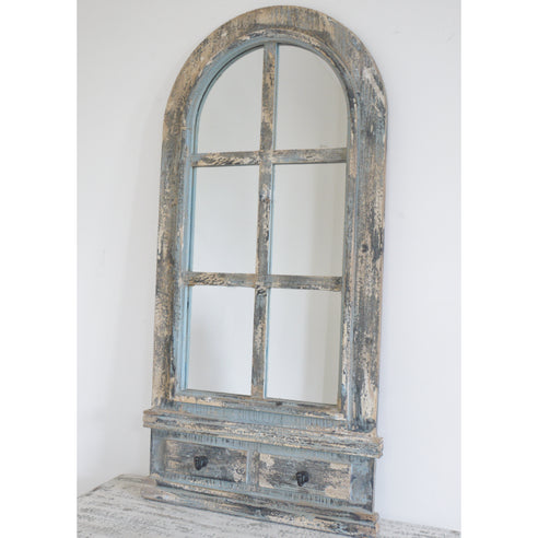 Beach House Distressed Wood Arched Mirror (52 x 4 x 111)