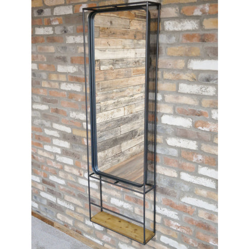 Retro Industrial Metal and Wood Dressing Mirror (54 x 16 x 165cm)- clearance