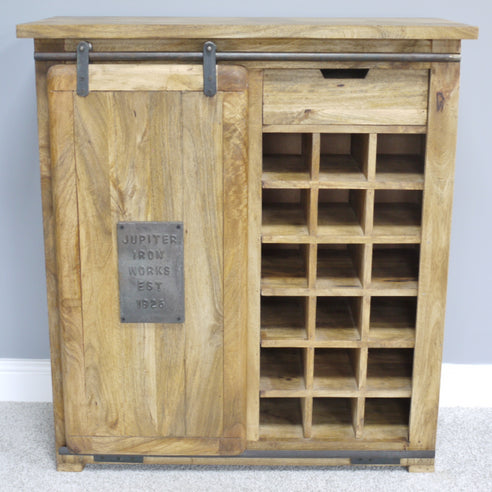 Hoxton Metal and Wood Industrial Small Wine Cabinet (90 x 40 x 100cm)