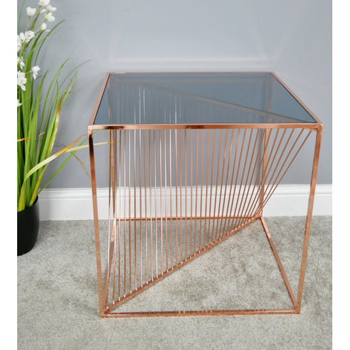 Electra Retro Steel Side Table - Copper (52 x 52 x 53cm)