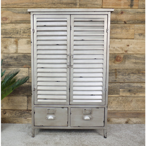 Hoxton Metal Industrial Distressed Louvred Cabinet (69 x 36 x 108cm)