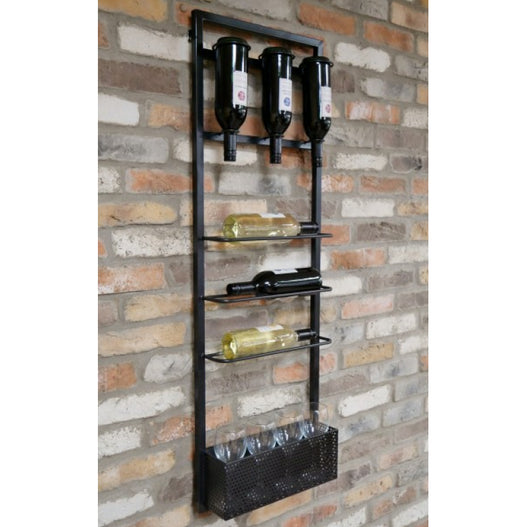 Brixton Metal Industrial Drinks Wine Wall Bar (40 x 11 x 120cm)