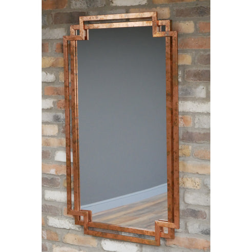 Copper Finish Distressed Art Deco Patinated Wall Mirror (70 x 116cm)