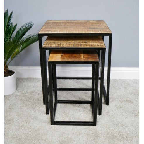 Hoxton Industrial Mango Wood and Steel Nest of Tables (56 x 50 x 56cm)