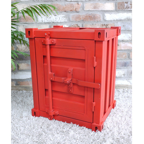 Retro Industrial Metal Red Container Side Table ( 46 x 35 x 55cm)