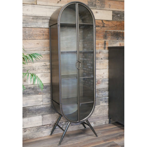 Retro Industrial Deco Style Metal Arched Display Cabinet (51 x 36 x 173cm)