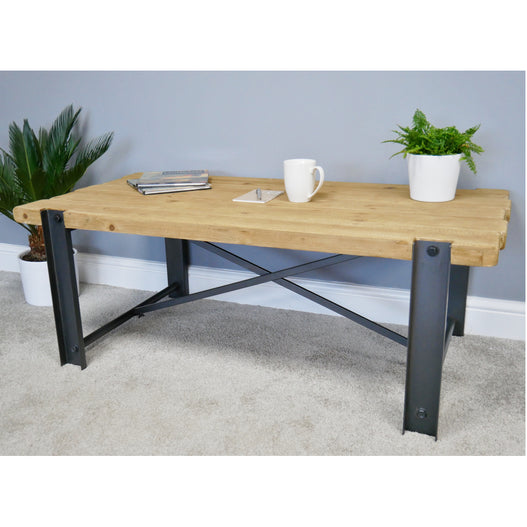Retro Industrial Metal and Wood Coffee table (119 x 60 x 45cm)