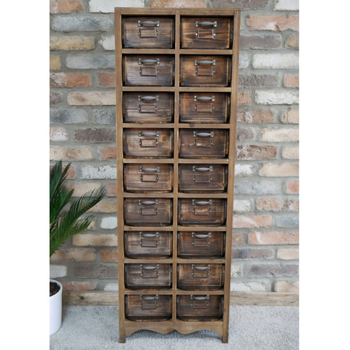 Hoxton Wood Industrial Style Multi Drawer Shoe Cabinet (42 x 30 x 123cm)