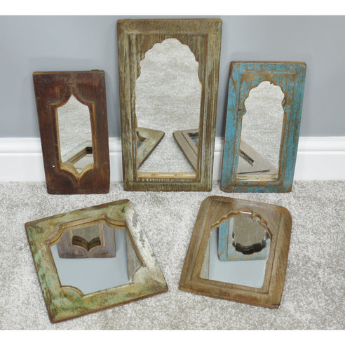 Beach House Fusion Distressed Wood 5 Mirror Set