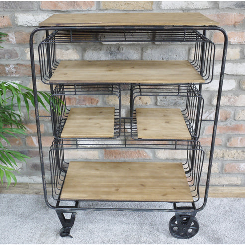 Brixton Metal and Wood Industrial Wheeled Storage Trolley (71 x 33 x 98cm)