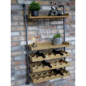 Retro Industrial Wood Wine Bar Open Shelving Wall Unit (70 x 28 x 124cm) - LOW STOCK!