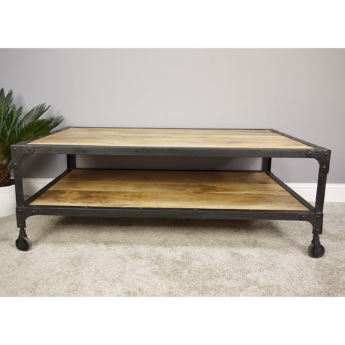 Hoxton Industrial Coffee Table with Wheels (123 x 72cm x 46cm)