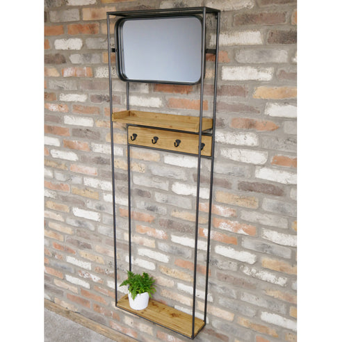 Retro Industrial Wall Mounted Coat Rack (54 x 16 x 165cm)