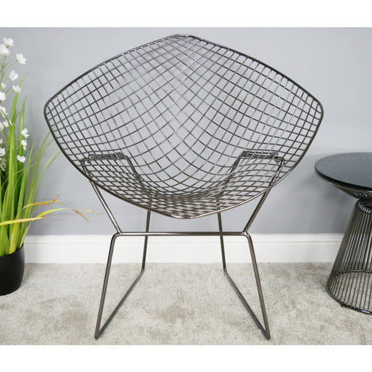 Electra Retro Steel Armchair - Chromed Black (82 x 68 x 87cm)