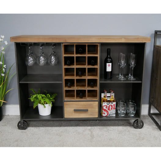 Brixton Metal and Wood Industrial Drinks / Wine Wheeled Sideboard (115 x 38 x 85cm)